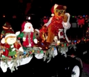 The Kody's Kids Float in the Lewes DE. Christmas Parade with Kody O'Bear himself.
