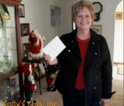 Debbie from Dupont Hospital for Children in Wilmington Delaware presents donations collected for Kody's Kids.