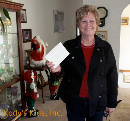 Deb with donation from the nurses at A I Dupont Hospital.