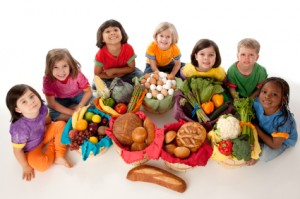 Healthy Eating: Diverse Group Children Food Group Baskets High A
